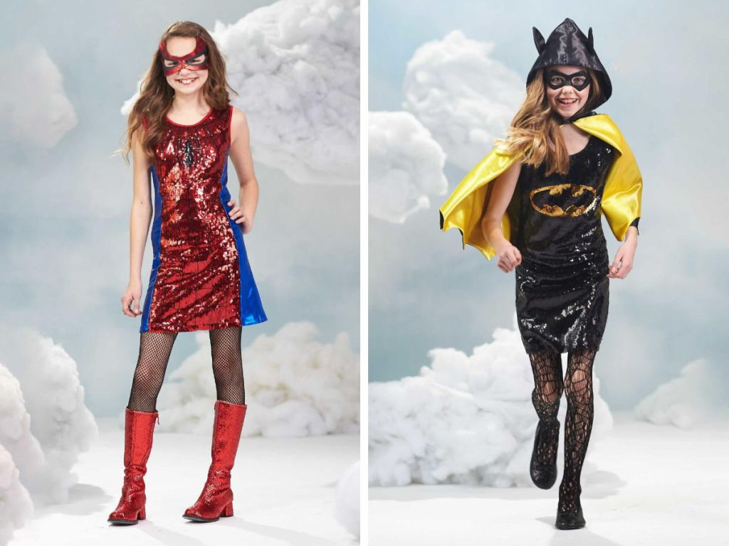 Girls sequin batgirl and spiderman