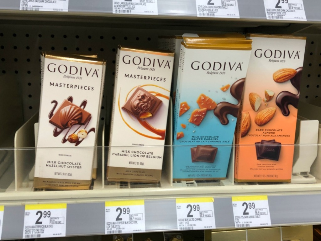 Godiva Masterpiece Bars on Walgreens Shelf