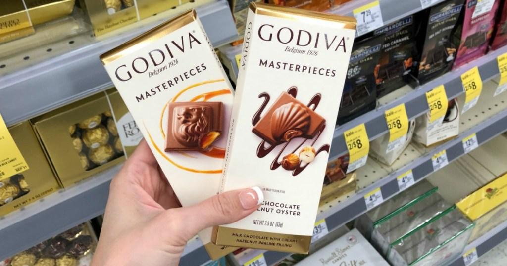 Hand holding Godiva Masterpieces Bar