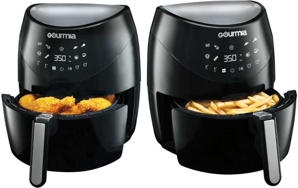 Gourmia brand air fryer at two angles - one with chicken, one with fries
