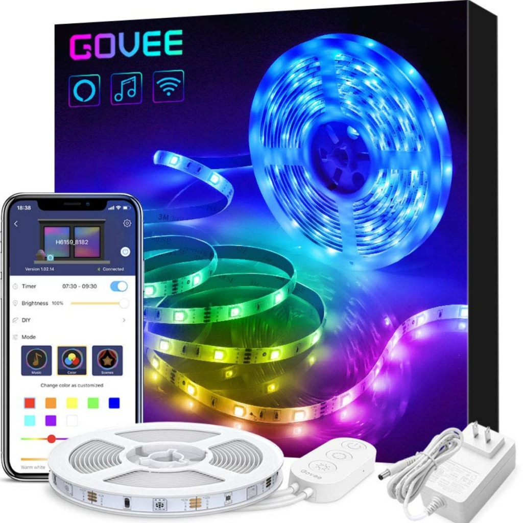 Govee brand LED Smart lights out of package with box