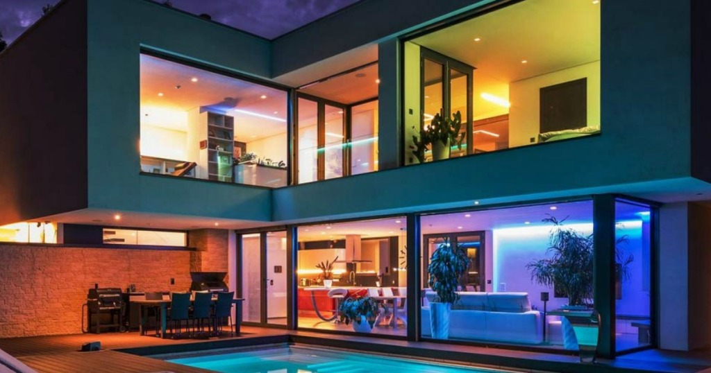 Govee brand smart wifi LED lights in multiple rooms of a house with a pool outside