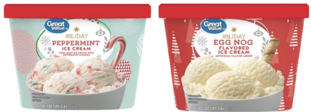 Cartons of Great Value Holiday Ice Creams