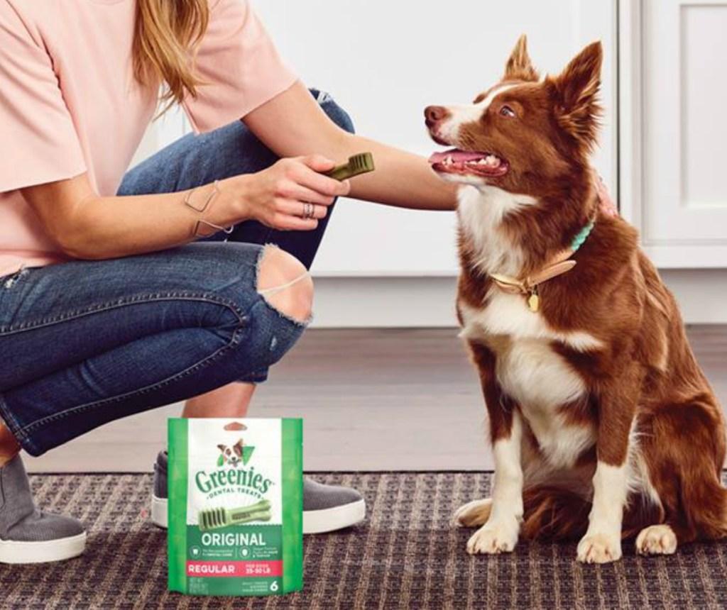 Woman giving dog a dental chew