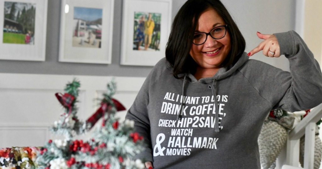 Lina wearing Hip2Save Hallmark Movies Sweatshirt