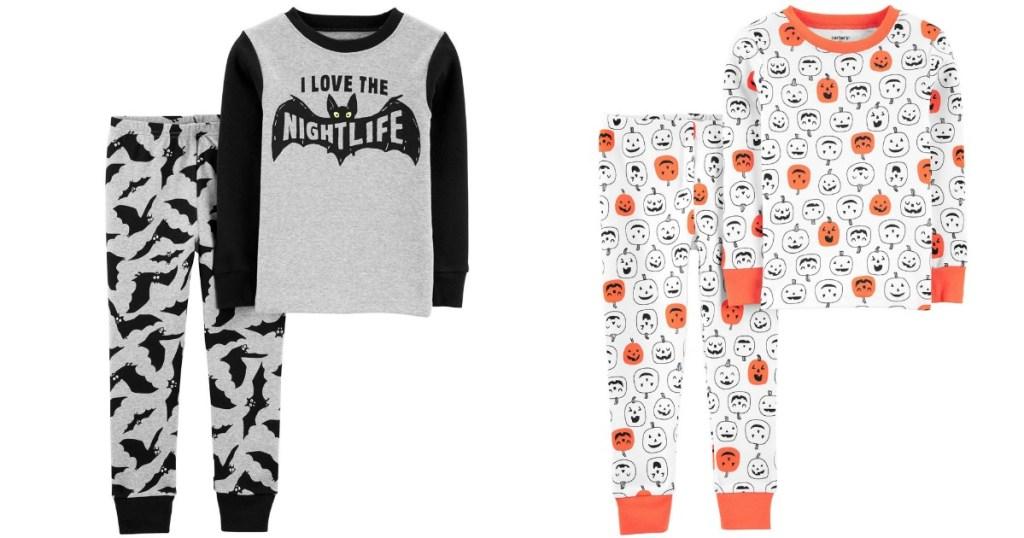 Halloween 2-Piece carter's pajama sets in Bat and Pumpkin designs