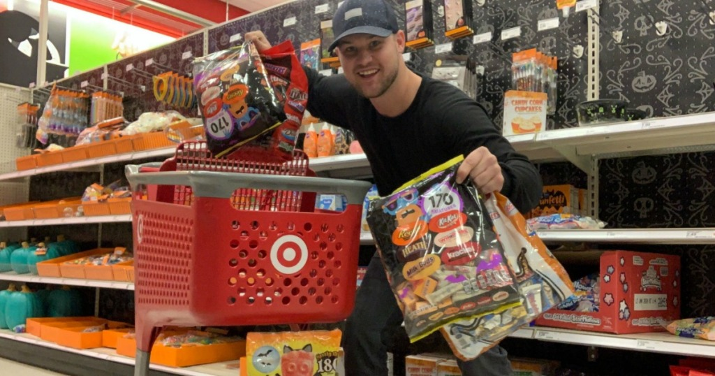 Stetson holding Halloween Candy at Target