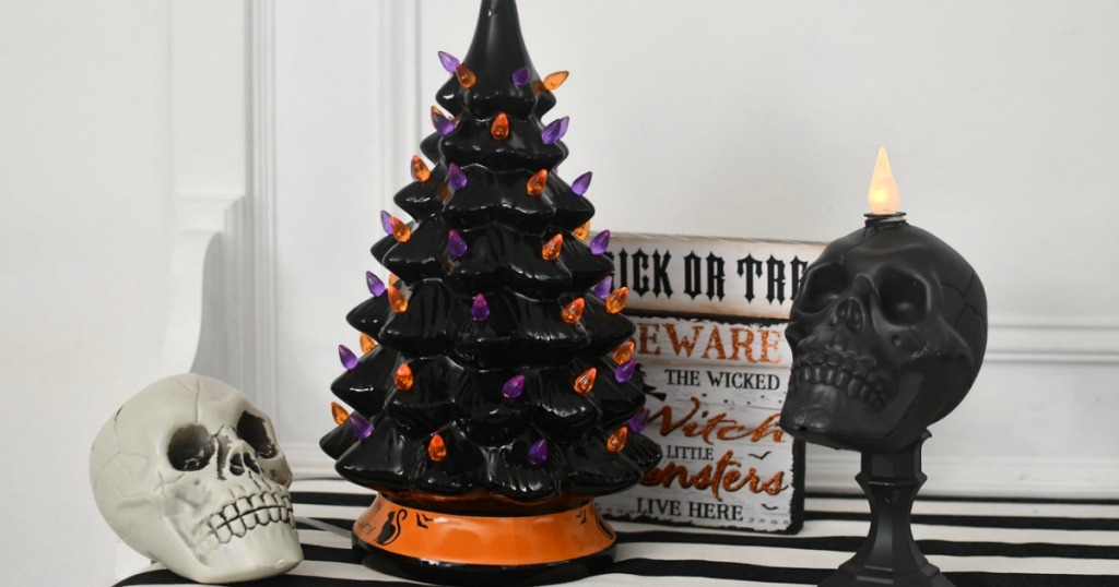 Halloween Ceramic Tree on Mantel