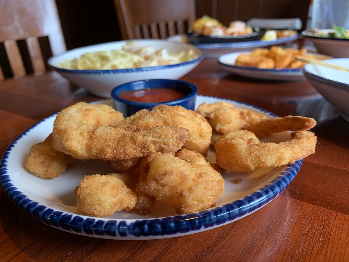 Plate of Hand-Breaded Shrimp at Red Lobster