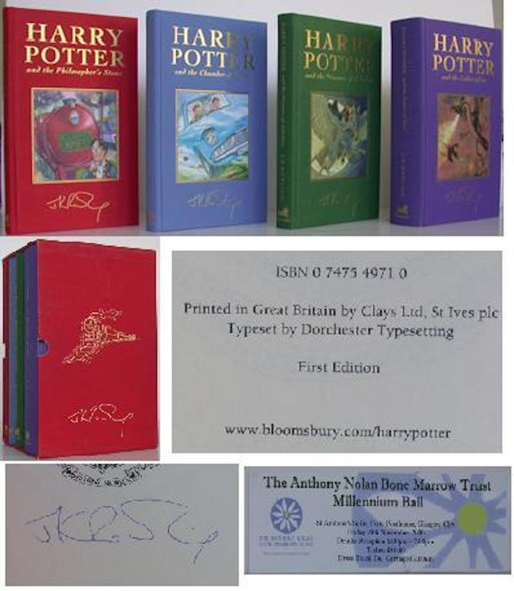 first edition harry potter books with autograph