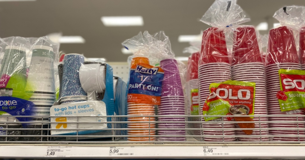 hefty cups on shelf at target