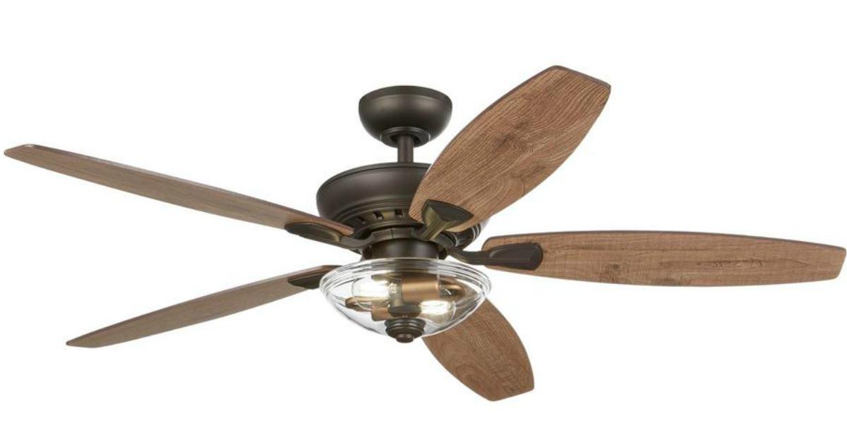 bronze celing fan with light wood blades