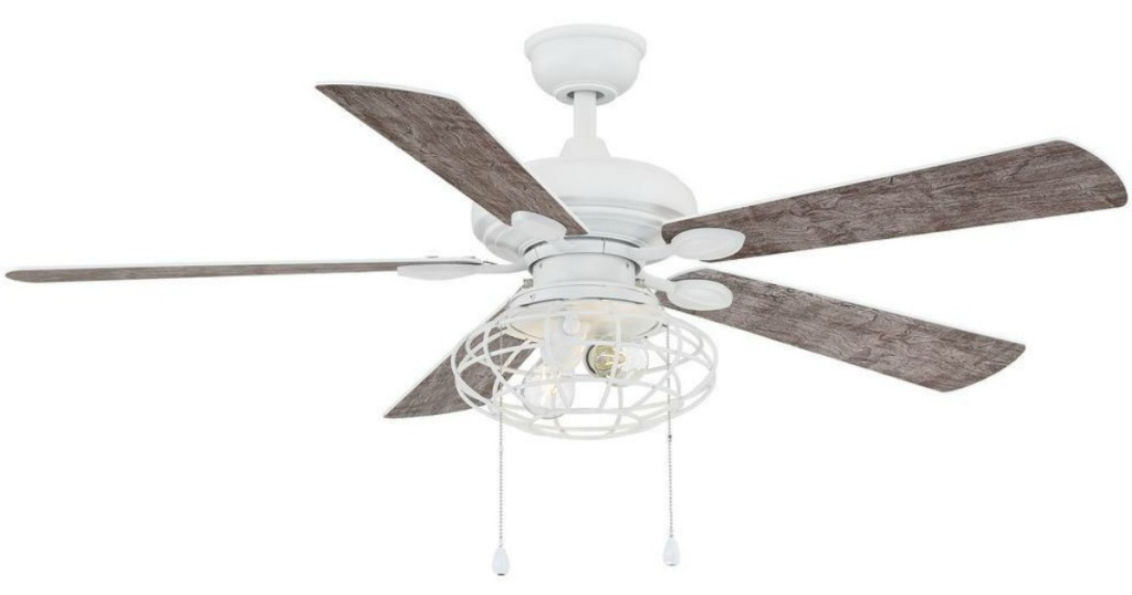 white celing fan with light wood blades