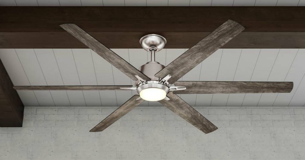 ceiling fan on rafter with gray blades