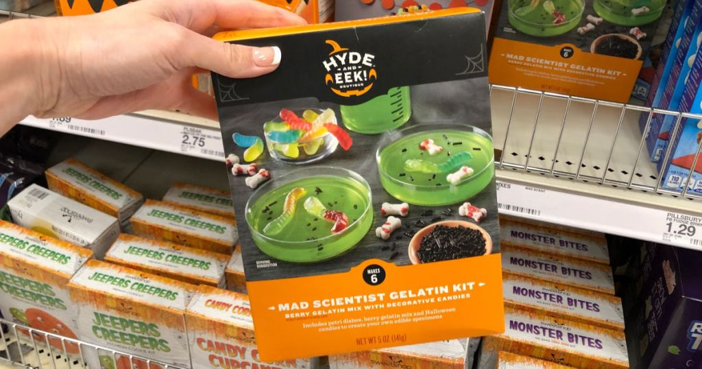 hand holding Hyde & EEK! Boutique Mad Scientist Gelatin Kit in store