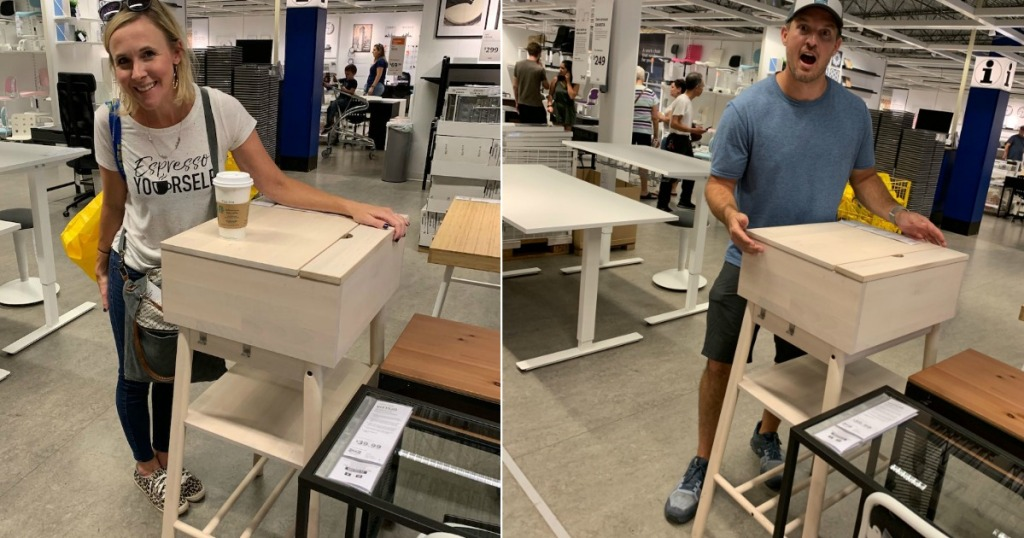 man and woman standing by IKEA standing desks