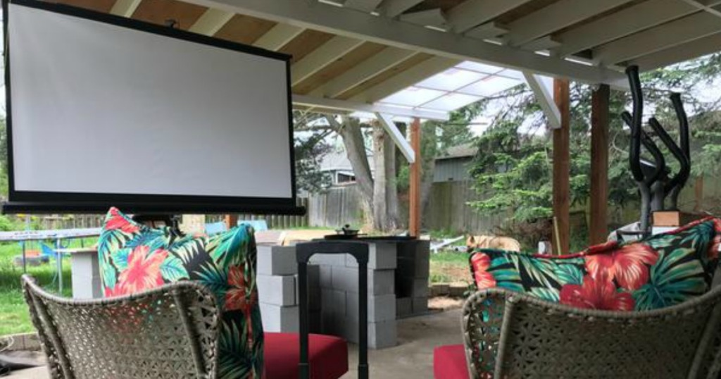 Insignia projector screen on a patio