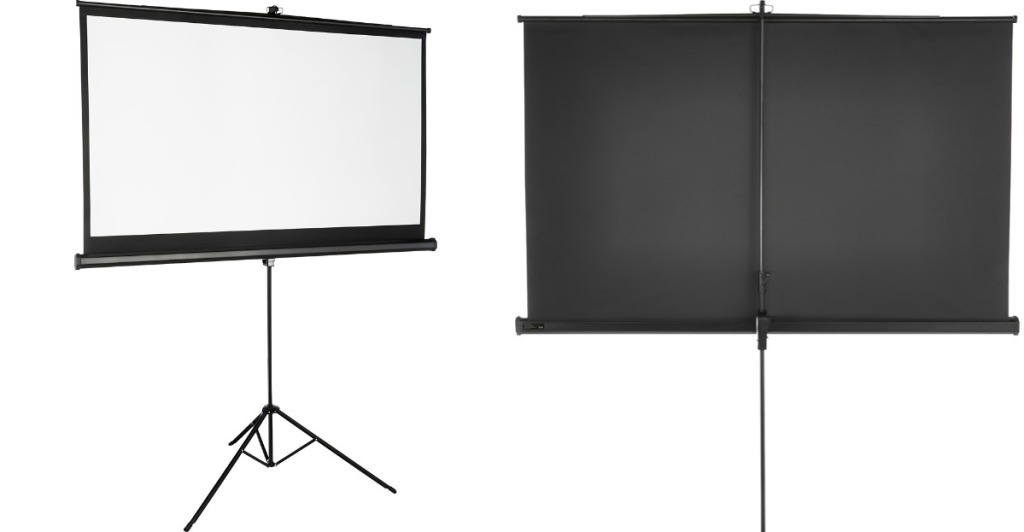 front and back view of Insignia projector screen
