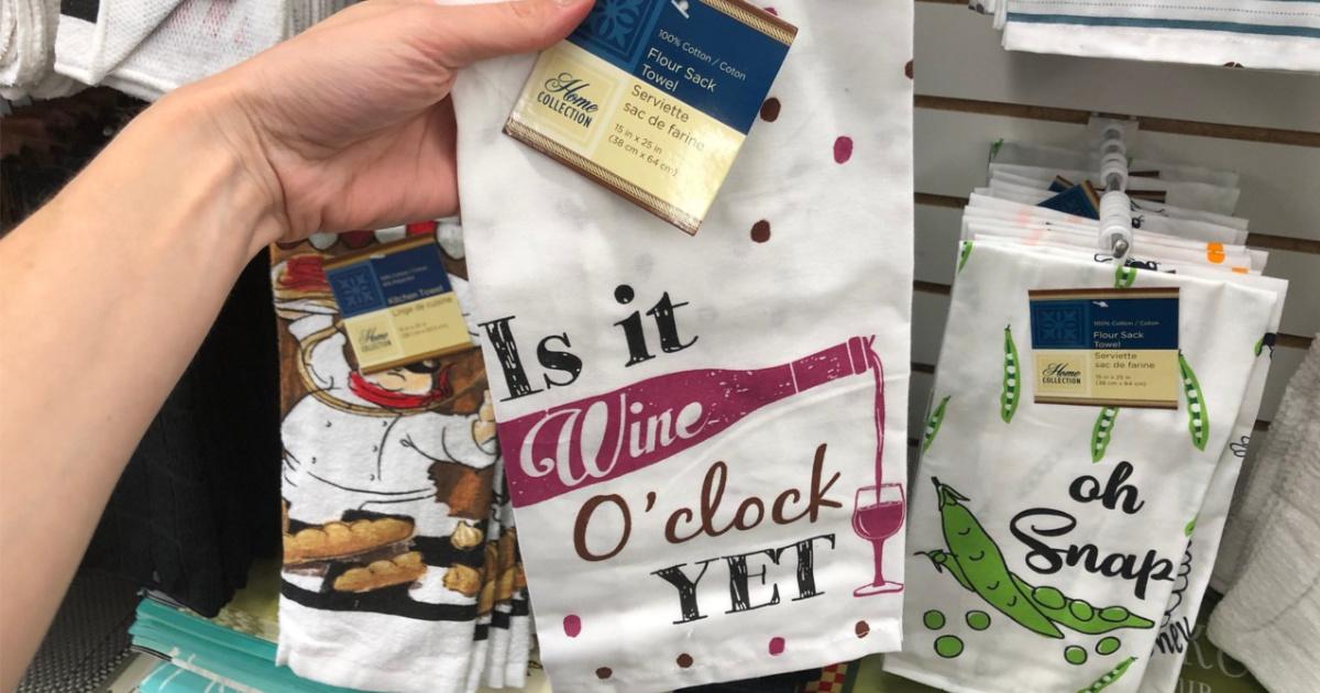 Is it Wine O'Clock Yet Dish Towel Dollar Tree