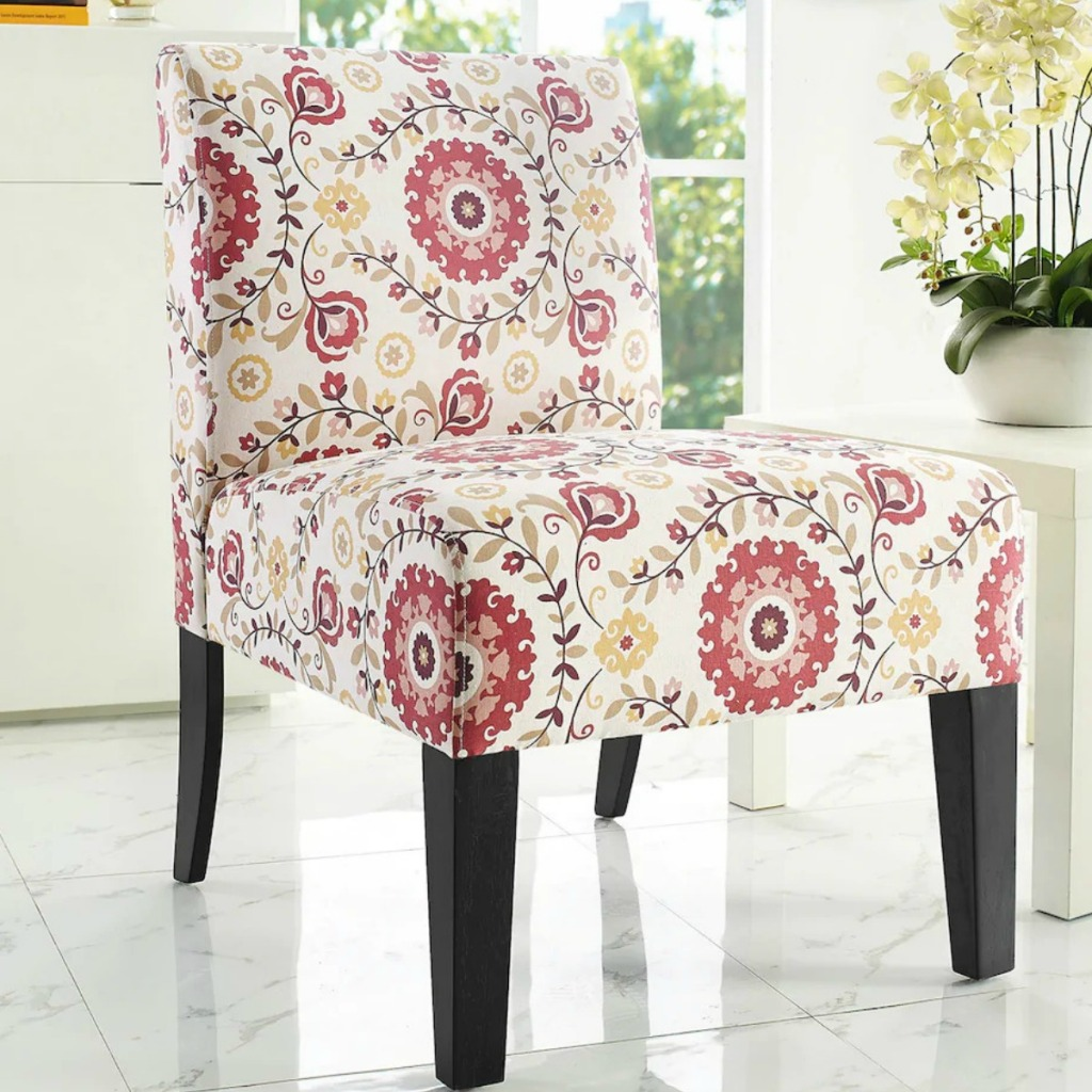 Accent Chair in pink medallion print