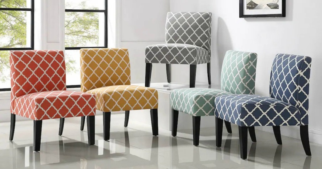 Accent Chairs Stacked on one another in a variety of colors