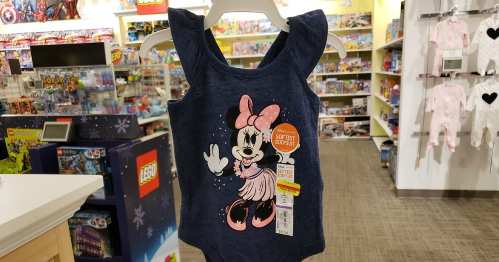 Jumping Beans Disney Minnie Mouse Body Suit hanging on a rack