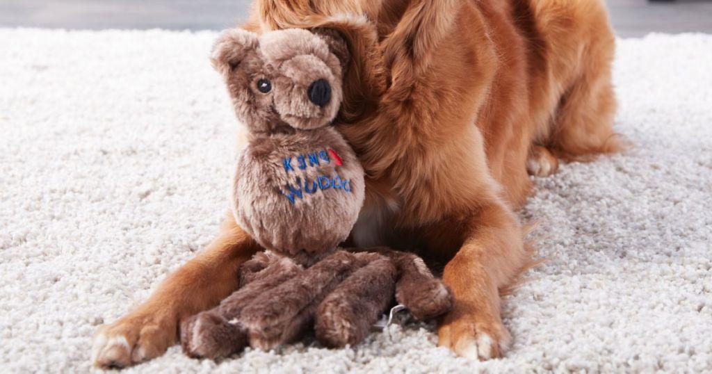 KONG Wubba Friend Dog Toy with golden retriever