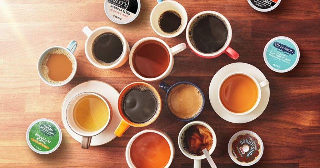 keurig kcups and coffee mugs on table