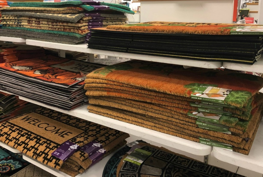 In-store display of fall doormats at kohl's