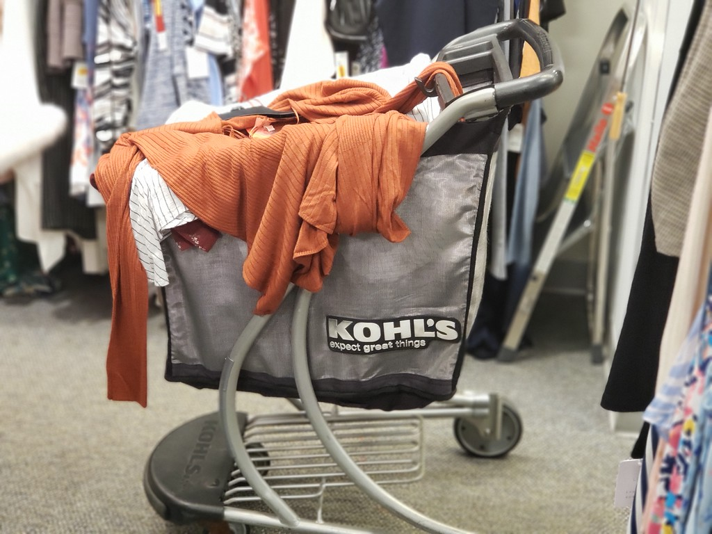 Kohl's Shopping Cart with clothing on top of it