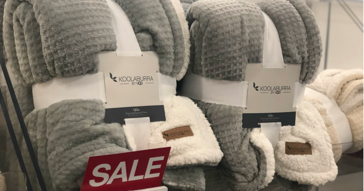 Gray colored Koolaburra by UGG Milo Throws on display in Kohl's store