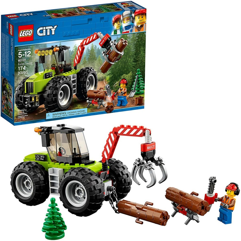 LEGO City Forest Tractor Set built with package nearby