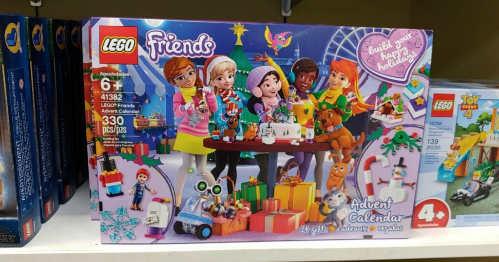 LEGO Friends Advent Calendar sitting on a shelf