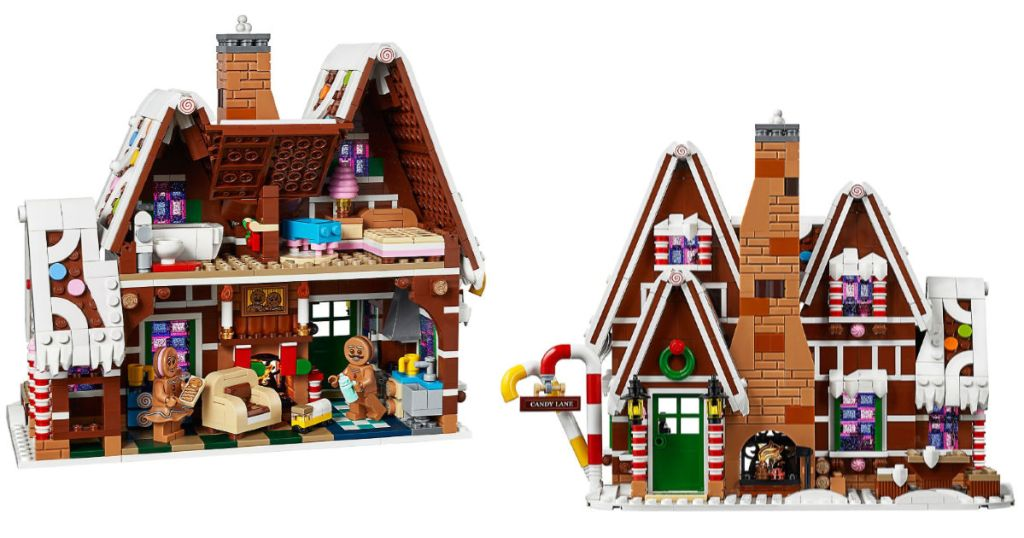 front and back of lego gingerbread house
