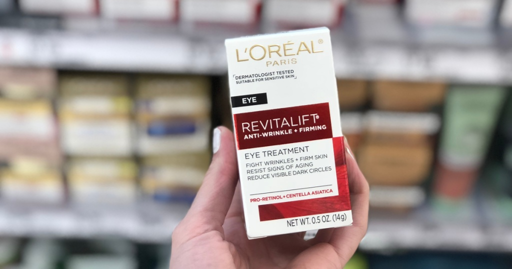 hand holding up box of loreal ani wrinkle cream