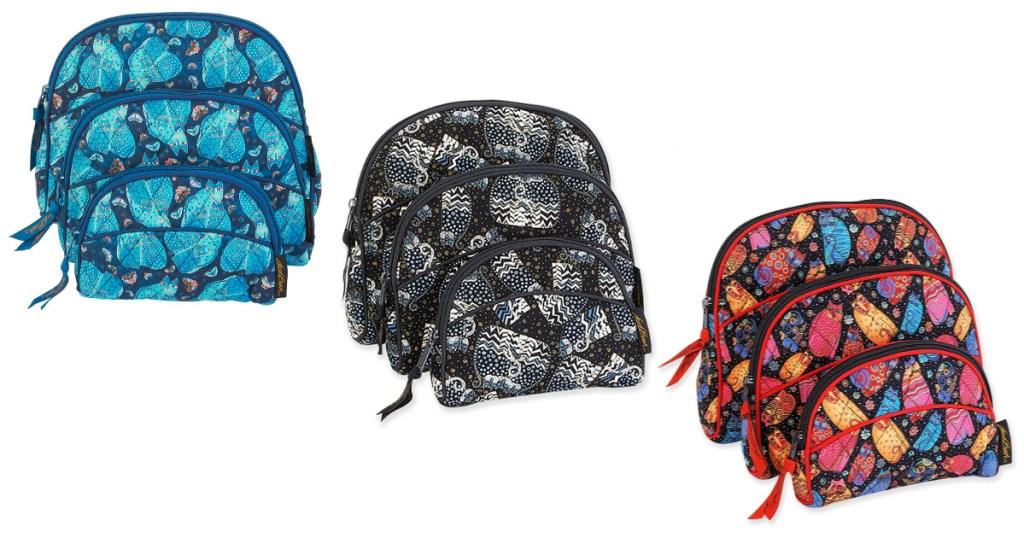 3 laurel burch cosmetic bag sets