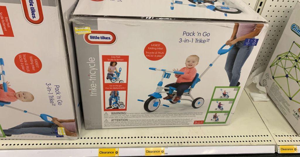 Little Tikes Pack n Go Trike on shelf