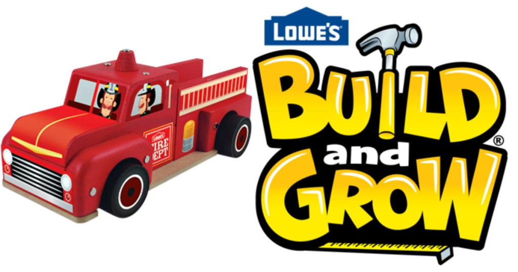 fire truck and lowes build and grow logo