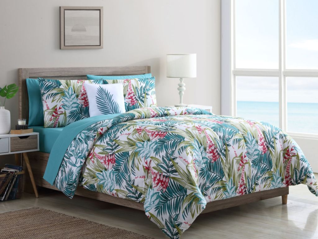 Mainstays Tropical Reversible Bed-in-a-Bag Comforter Set