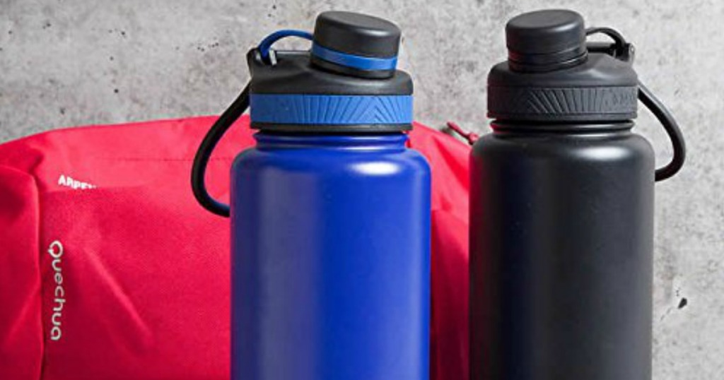 Manna Water Bottles in blue and black