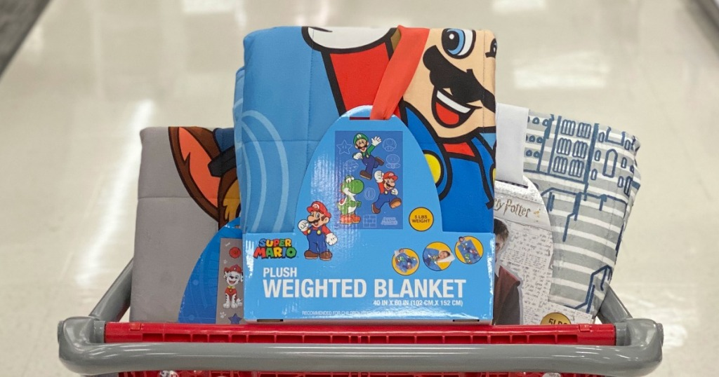 Mario Weighted Blanket in Target cart