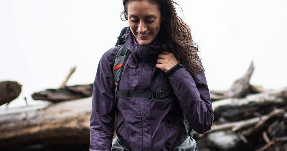 woman wearing marmot jacket