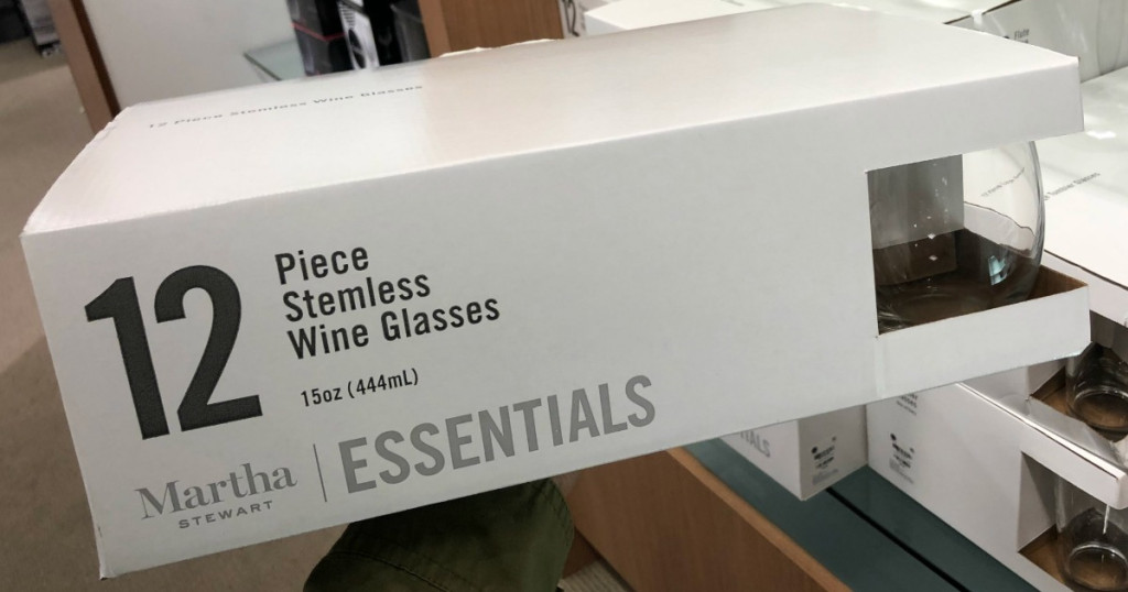 Martha Stewart Stemless Wine Glasses box in store
