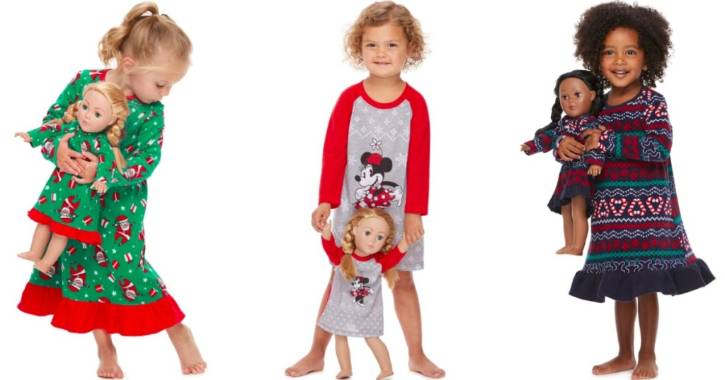 girls wearing matching pajama sets with their dolls