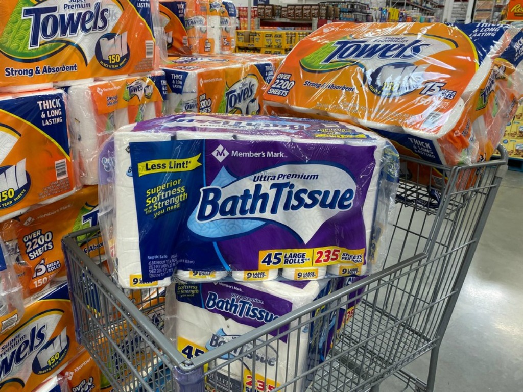 Member's Mark bathroom tissue and paper towels in a cart at Sam's Club