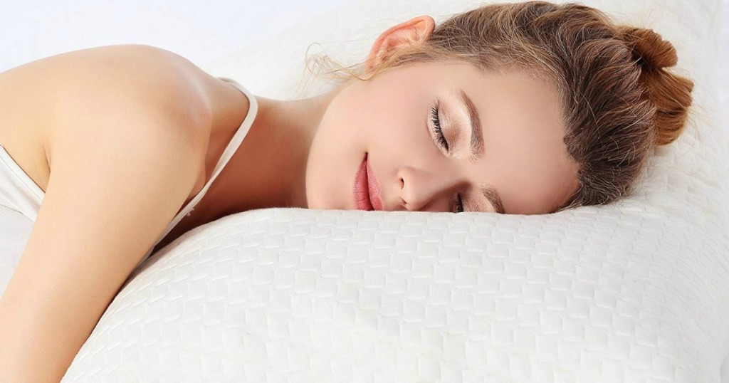 woman laying on Memory Foam Pillows
