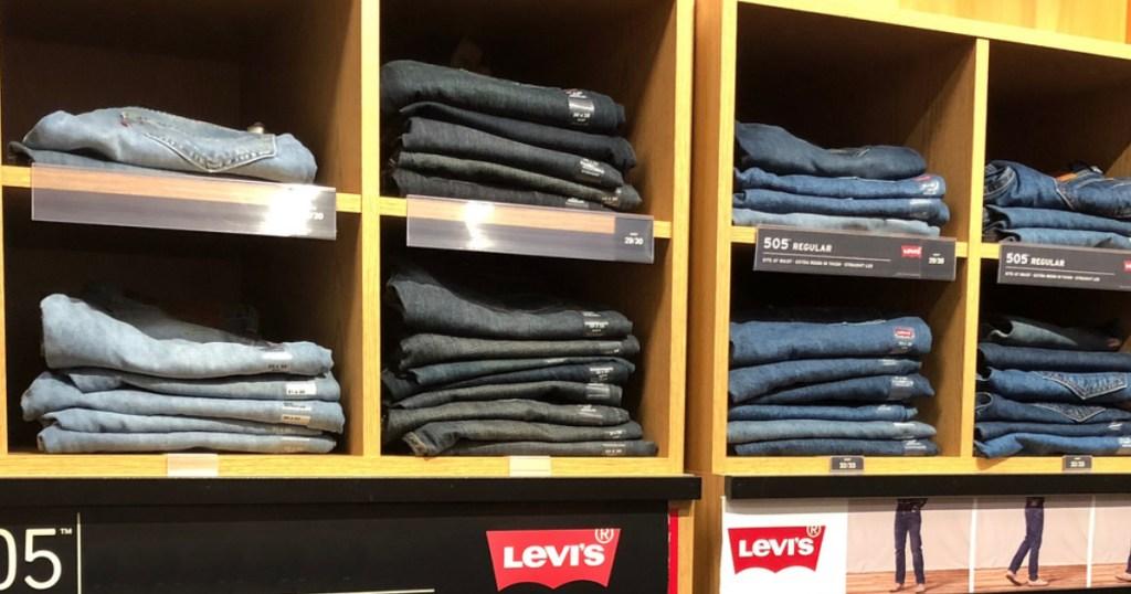 Men's Levis Jeans on shelf