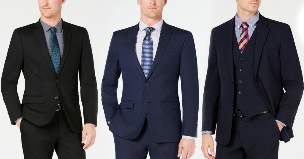Three styles of men's suits from Macy's