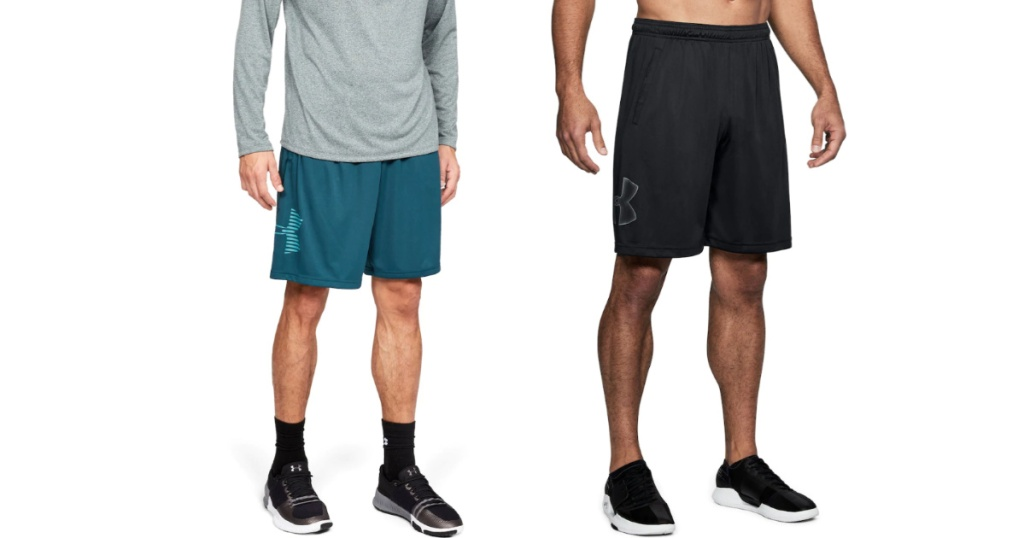 two men wearing under armour shorts