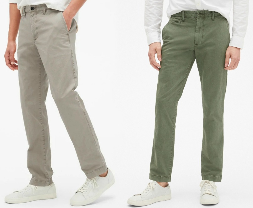 Men in two colors of vintage khakis from the Gap